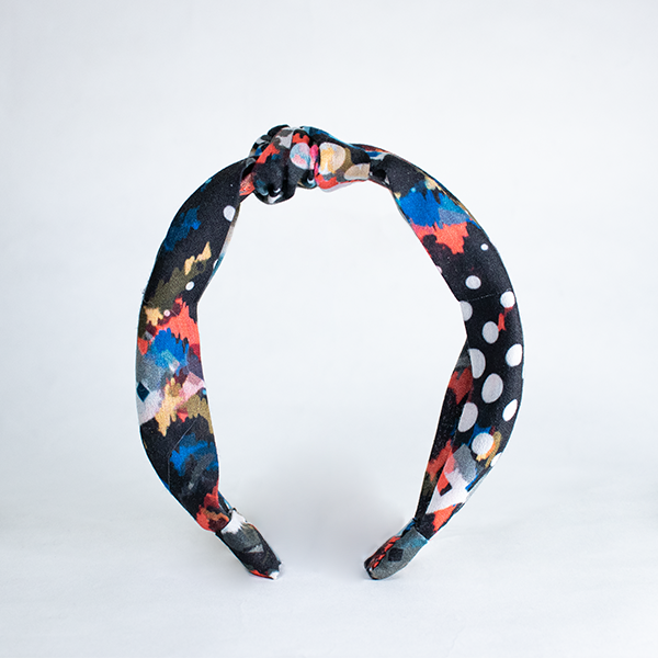 Blair Headband In Abstract Black Print Cotton