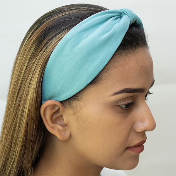 Betty Cooper Headband In Textured Blue Jersey