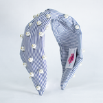 Load image into Gallery viewer, BETTY COOPER HAIRBAND IN BLUE & WHITE STRIPES WITH PEARL DETAIL
