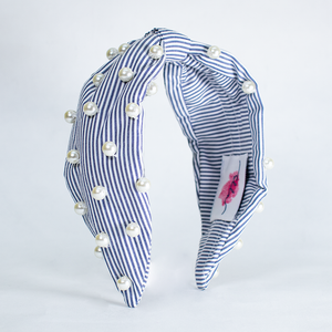 BETTY COOPER HAIRBAND IN BLUE & WHITE STRIPES WITH PEARL DETAIL