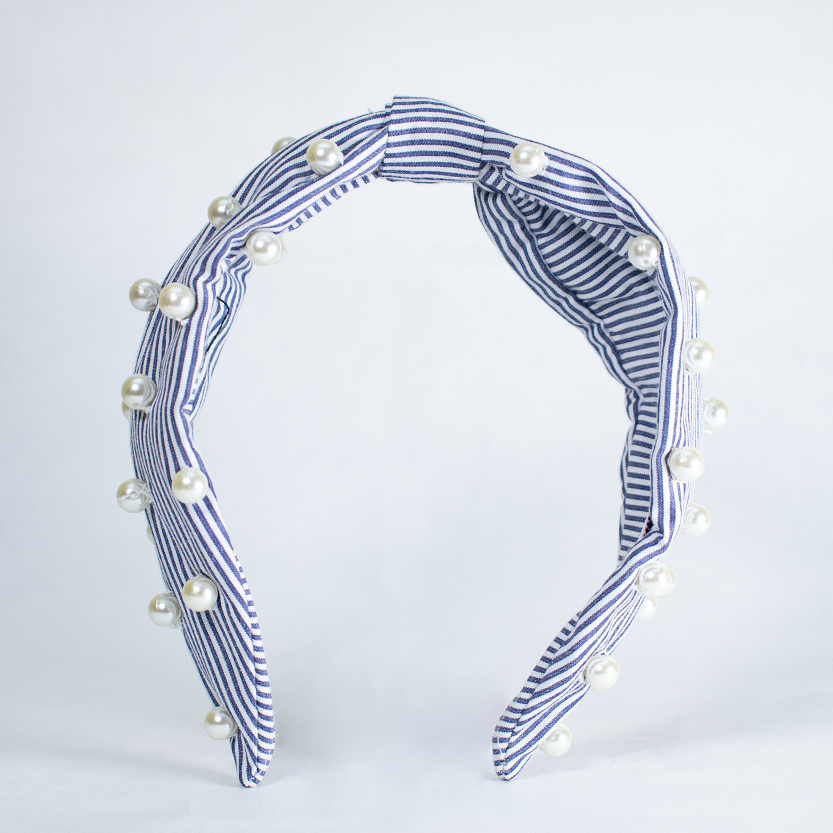 Betty Cooper Headband In Blue & White Stripes With Pearl Detail