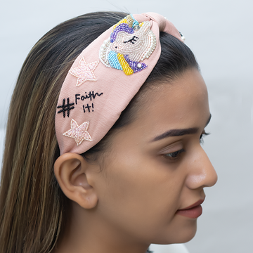 Betty Cooper Headband In Textured Pink Jersey With Embroidery - Unicorn