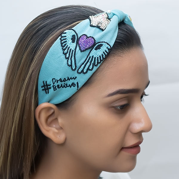Betty Cooper Headband In Textured Blue Jersey With Embroidery - Unicorn