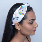 Load image into Gallery viewer, Betty Cooper Headband In White Jersey With Embroidery - Unicorn