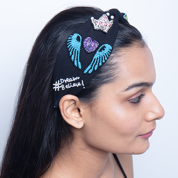 BETTY COOPER HAIRBAND IN BLACK JERSEY WITH EMBROIDERY - UNICORN