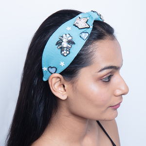 Betty Cooper Headband In Textured Blue Jersey With Embroidery - Hot Air Balloon