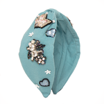 Load image into Gallery viewer, Betty Cooper Headband In Textured Blue Jersey With Embroidery - Hot Air Balloon
