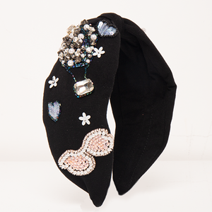 Betty Cooper Headband In Black Jersey With Embroidery - Hot Air Balloon