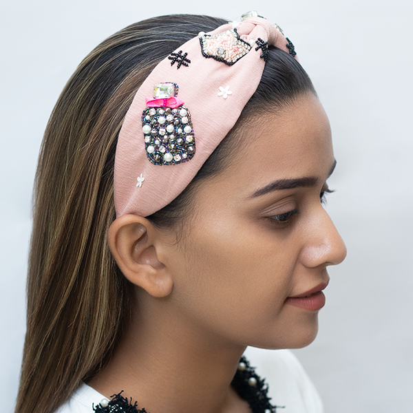 BETTY COOPER HAIRBAND IN TEXTURED PINK JERSEY WITH EMBROIDERY – PERFUME