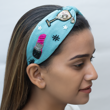 Betty Cooper Headband In Textured Blue Jersey With Embroidery - Perfume