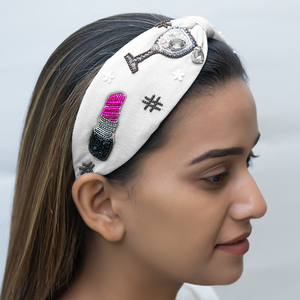 BETTY COOPER HAIRBAND IN WHITE JERSEY WITH EMBROIDERY – PERFUME