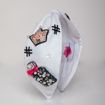 Load image into Gallery viewer, BETTY COOPER HAIRBAND IN WHITE JERSEY WITH EMBROIDERY – PERFUME