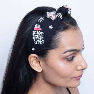 Headband In Black Jersey With Embroidery Perfume