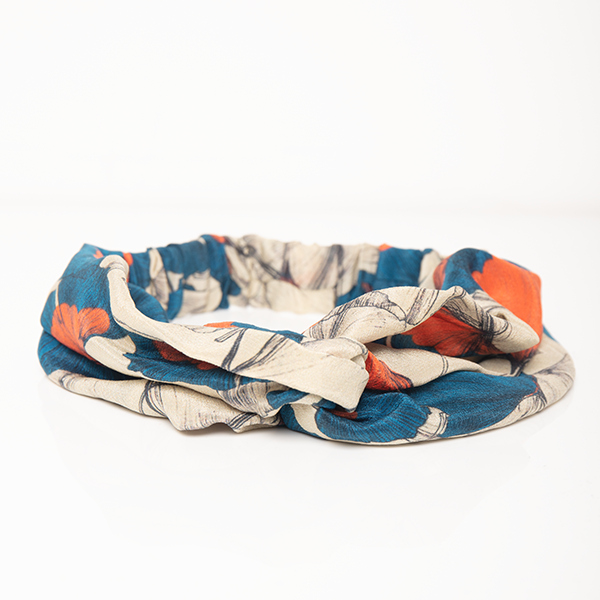 Marvellous Mrs. Maisel Headband In Blue And Grey Print Crepe