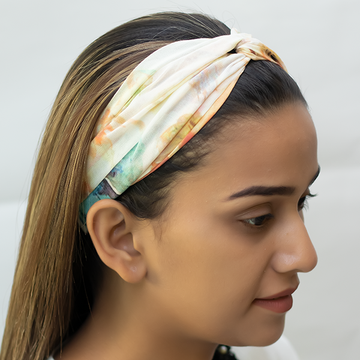 Marvellous Mrs. Maisel Headband In Cream Floral Print Georgette