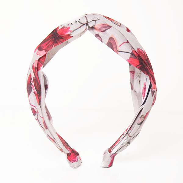 Veronica Headband In Grey And Red Floral Print