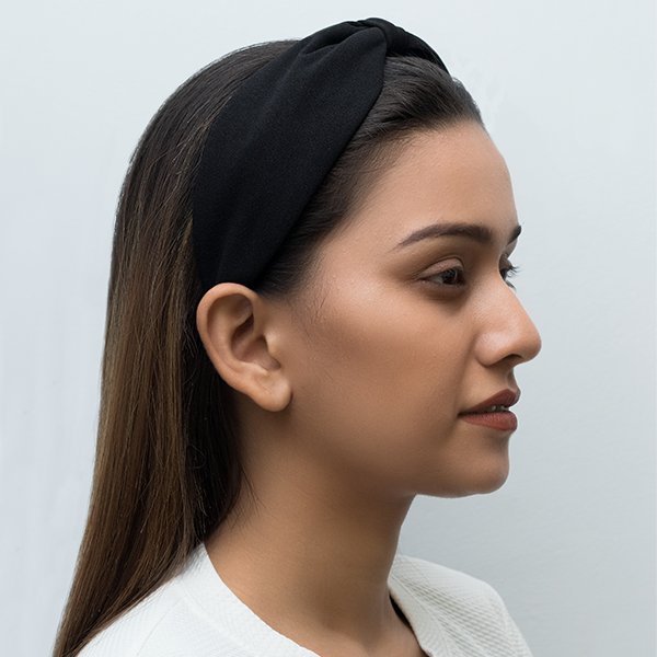 Betty Cooper Headband In Textured Black Jersey