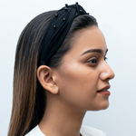 Load image into Gallery viewer, Blair Headband In Black Jersey With Pearls