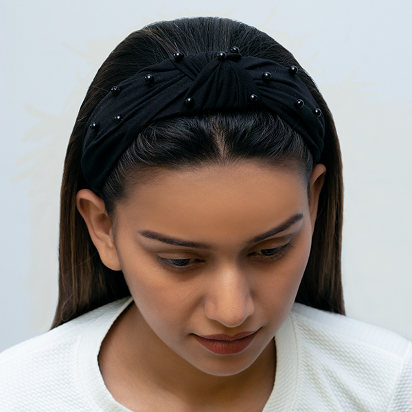 Blair Headband In Black Jersey With Pearls