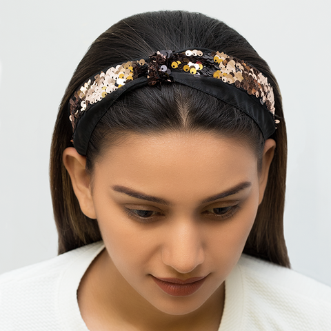 SERENA HAIRBAND IN BLACK AND GOLD REVERSIBLE SEQUINS WITH ORGANZA