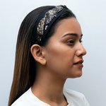 Load image into Gallery viewer, Serena Headband In Black And Gold Sequins With Organza