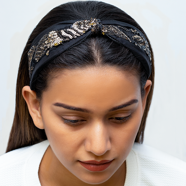 Serena Headband In Black And Gold Sequins With Organza