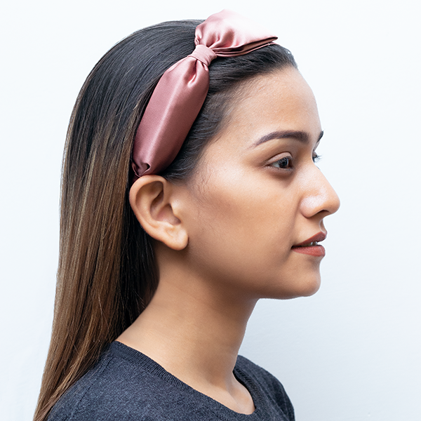 Rachel Zane Headband In Mauve Satin