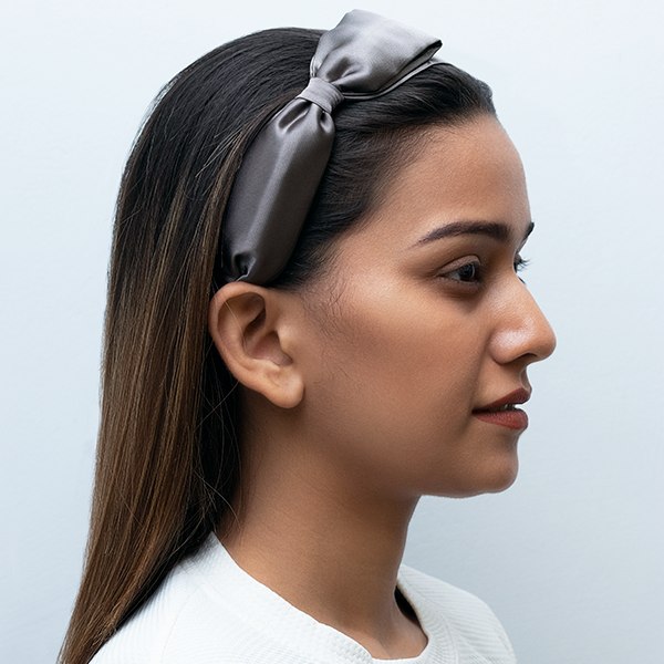 RACHEL ZANE HAIRBAND IN GREY SATIN