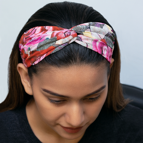 MARVELLOUS MRS. MAISEL HAIRBAND IN MAROON FLORAL GEORGETTE