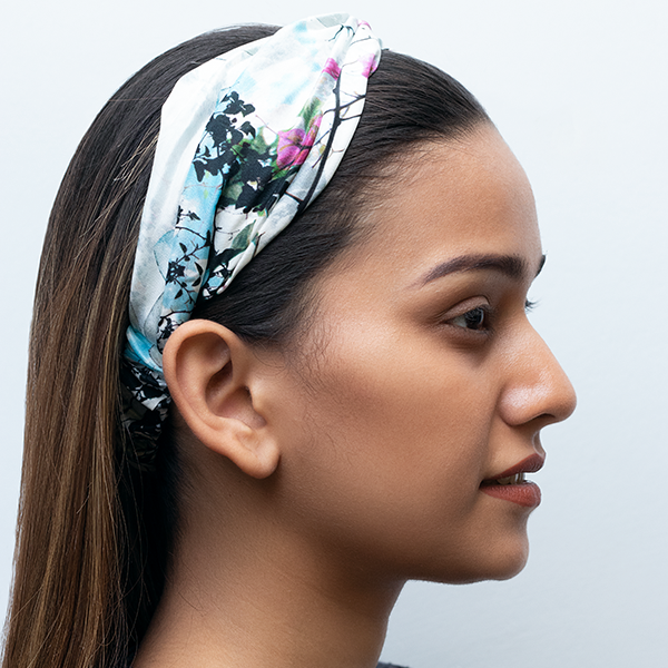 Marvellous Mrs. Maisel Headband In White Icy Bloom Crepe