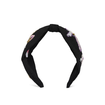 Elsa Headband In Black Jersey With Embroidery - Icecream Cone