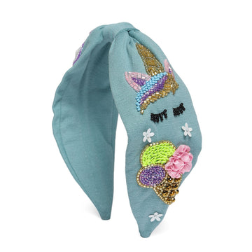 Elsa Headband In Blue Jersey With Embroidery - Icecream Cone