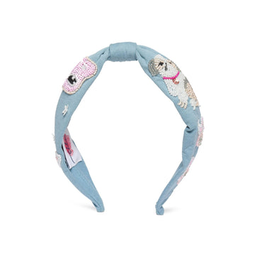 Elsa Headband In Blue Jersey With Embroidery - Animal Lovers