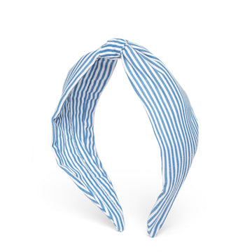 Elsa Headband In Blue & White Stripes Cotton
