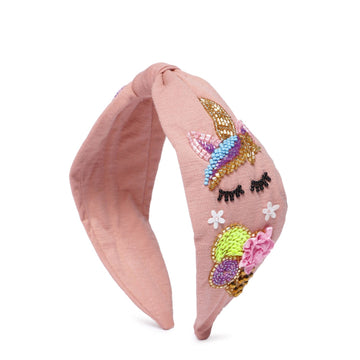 Elsa Headband In Pink Jersey With Embroidery - Icecream Cone