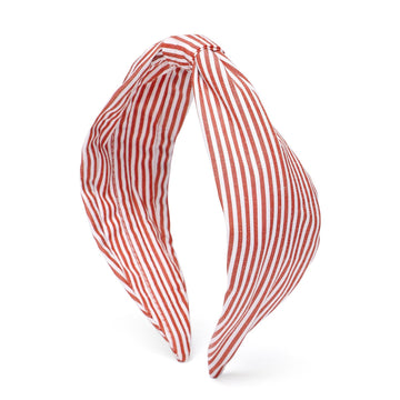 Elsa Headband In Red & White Stripes Cotton