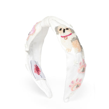 Elsa Headband In White Jersey With Embroidery - Animal Lovers