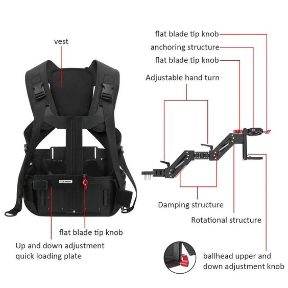 camera vest stabilizer specifications and parts