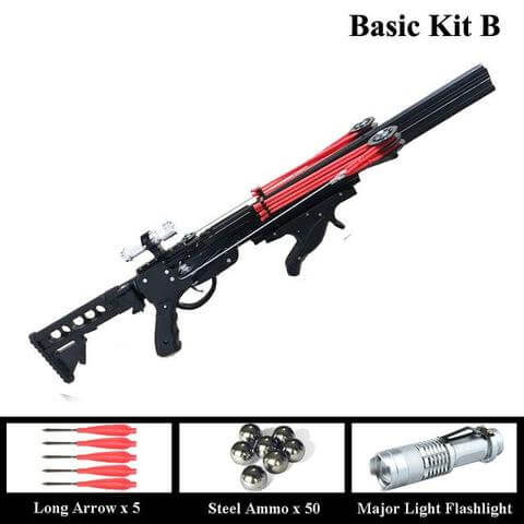 Semi Automatic Slingshot Hunting Fishing Bow Powerful Catapult Fix Reel Multifunction Steel Ball Ammo Arrow Continuous