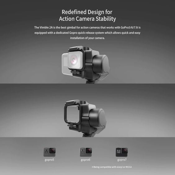 Vimble 2A gimbal action camera stability feature