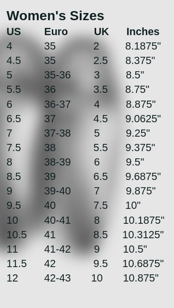 Women's-US-Euro-Shoe-Size-comparisons-chart-table