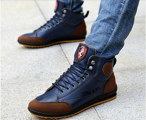 Leather boots men's blue ankle boots