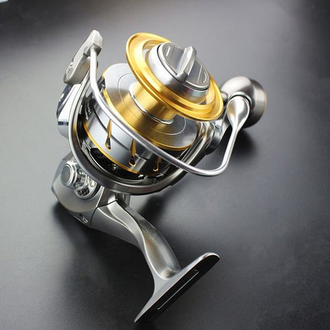 angler fishing reel metallic finish