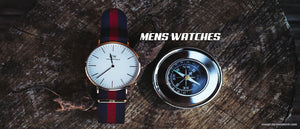 slide of trunk with minimalist men's watches-hue and shades