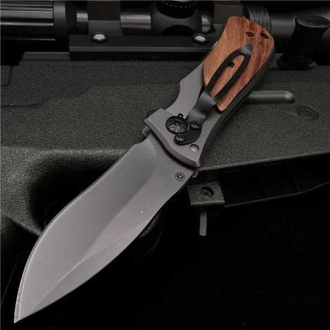 wooden handle folding pocket knife with waist clip