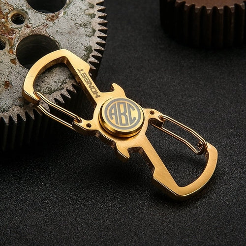 Monogram Spinner Keychain with Bottle Opener Gold Color-Hue&Shades