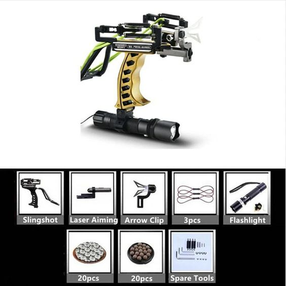 gold handle fishing slingshot with pointer and flashlight