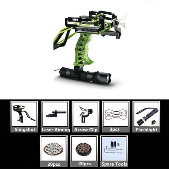 green hunting slingshot catapult with flashlight