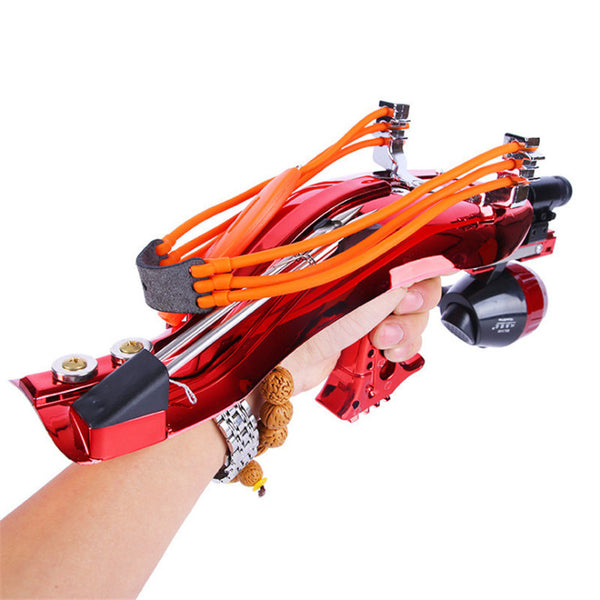 Slingshot Bow Launcher with fishing reel with fishing darts for ammo-Hue&Shades