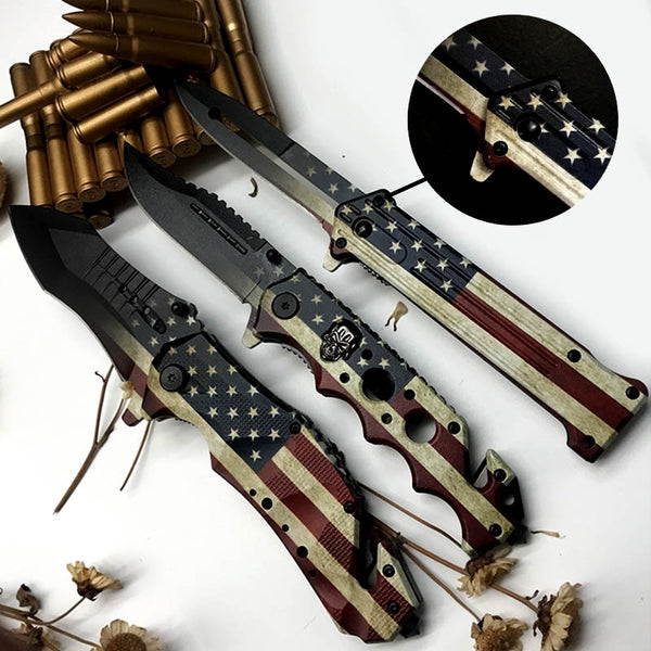 Outdoor Mini Camping 3D Printing Skull American flag Stainless Handle Survival Knife Multifunction Outdoor Tactical Rescue Tools